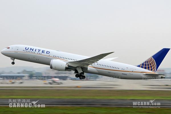 """民航资源网2014年10月22日消息:2014年10月21日18点34分,美国联合航空公司(United Air Lines, Inc.,简称""""美联航"""")首架787-9飞机(注册号""""N38950"""")执行UA009航班安全降落成都双流机场。飞常准航班数据显示,今天上午9点49分,N38950号飞机从成都机场起飞,执行UA008航班返回旧金山机场,预计将于当地时间22日上午8点零5分降落。美联航787-9飞机本次临时取代787-8执飞旧金山—成都"""