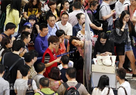 上海虹桥机场出现航班大面积延误