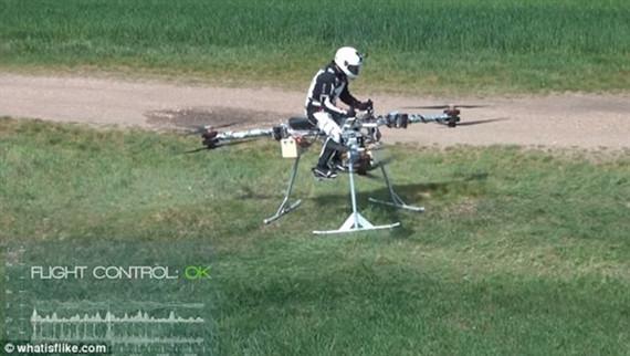 """图:空中自行车首次载人试飞。   据国外媒体报道,星球大战的粉丝们成功研制出了一款""""空中自行车"""",看上去与电影中的帝国飞行摩托惊人地相似。这款三轴飞行器名为""""Flike"""",近日首次开展了一系列载人飞行测试。   """"Flike是匈牙利研发的一台革命性的、全电子化的单人飞行设备。""""创造者这样解释道,""""从技术层面上来说,它是一台同轴、六旋翼的三轴飞行器,这意味着,它的升力由六个旋翼提供,而这六个旋翼两两一组进行异向旋转,三组旋"""