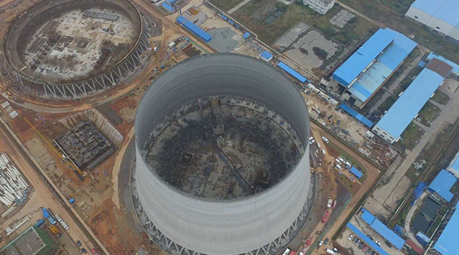 航拍江西丰城电厂施工平台坍塌事故现场